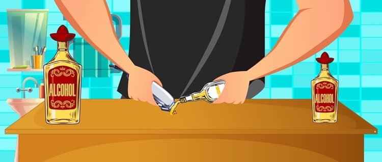 חיטוי של מכונת גילוח באמצעות אלכוהול