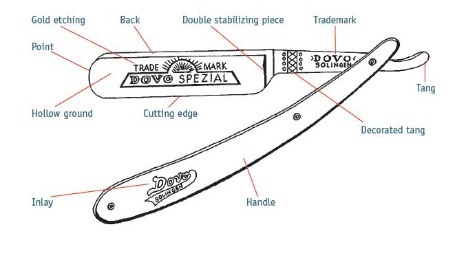 תיאור של כל אחד מהחלקים של תער גילוח