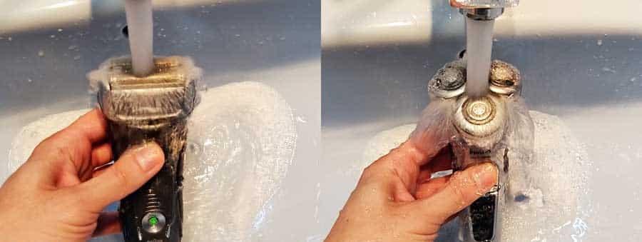ניקוי מכונת גילוח במי ברז 2 תמונות שונות